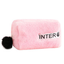 Draagbare Cartoon Bont cosmetische bag Coin Storage Case Travel Faux Fur Kwaii Make-Up Tas Pouch Met Bont Bal Neceser Dropshipping(China)
