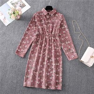 Winter Autumn Corduroy Long Sleeve Midi Shirt Dress Pink Floral Vintage Fashion Office Lady Dresses Zaraing Woman Christmas