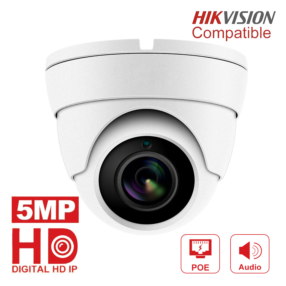 Hikvision Compatible 5MP POE IP Camera Outdoor/Indoor 2592 X 1944 Dome Security Video Surveillance Audio Camera CCT