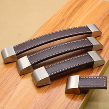 Manijas de piel de aleación de Zinc para perillas gabinetes mobiliario cajón del pecho maleta manija y tira negro marrón cocina manijas