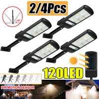 2/4x Solar Straße Licht 120 LED PIR Motion Sensor solar licht IP65 Wasserdichte Außen Beleuchtung Garten Lampe led wand licht