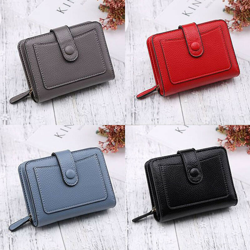 Women's Short Small Wallet Lady Basic Classic Leather Folding Coin Card Holder Money Purse