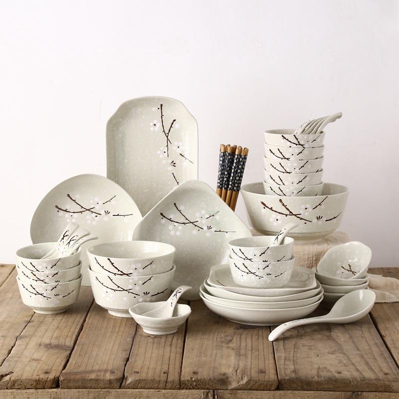 Estilo japonês Jogo de jantar Tigela/prato/prato/chopsticks/colher 46 Talheres pcs Set Reutilizável cerâmica com Pauzinhos de madeira - 4