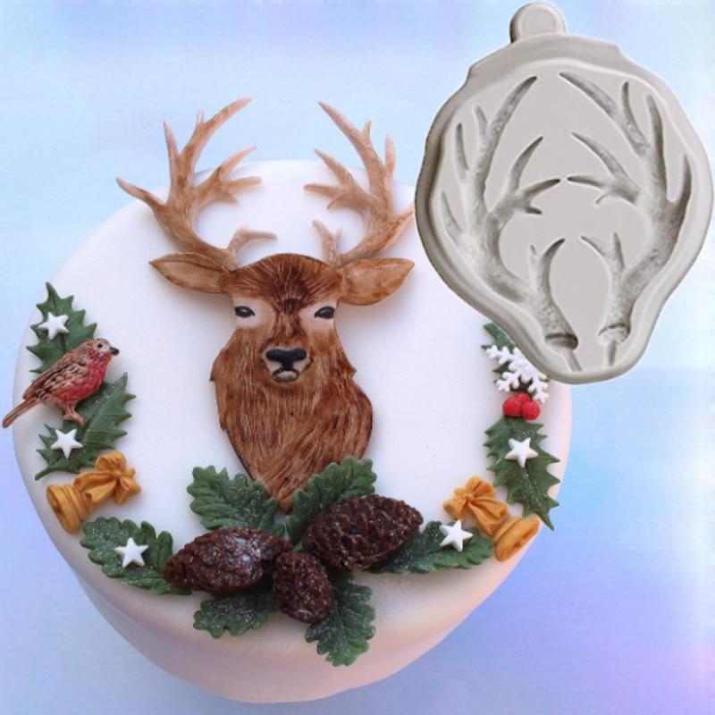 Christmas Deer Animal Cake Toppers Mould Sugar Chocolate Cake Decor Mould Mold