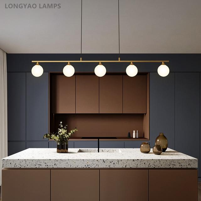 북유럽 식당 모든 구리 LED 샹들리에 현대 유리 공 거실 매달려 램프 침실 조명기구 연구 조명