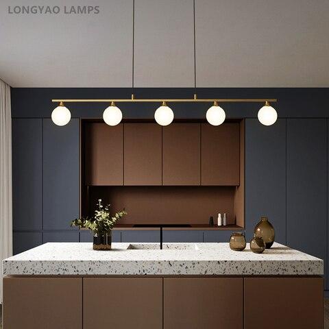lustre led nordico de cobre luminaria suspensa com bola de vidro moderna para sala de