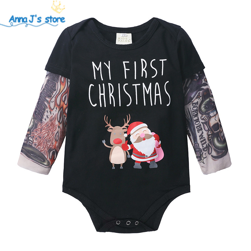 Ant-Kinds Infant Toddler Baby Boy Girl Tattoo Printed Sleeve Romper Bodysuit Jumpsuit