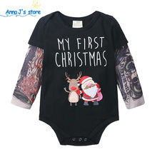 Newborn Baby Rompers Tattoo Long Sleeves Rock cool Baby Boy Romper Christmas Infant Girls Jumpsuit Baby Print Clothes ppy517(China)