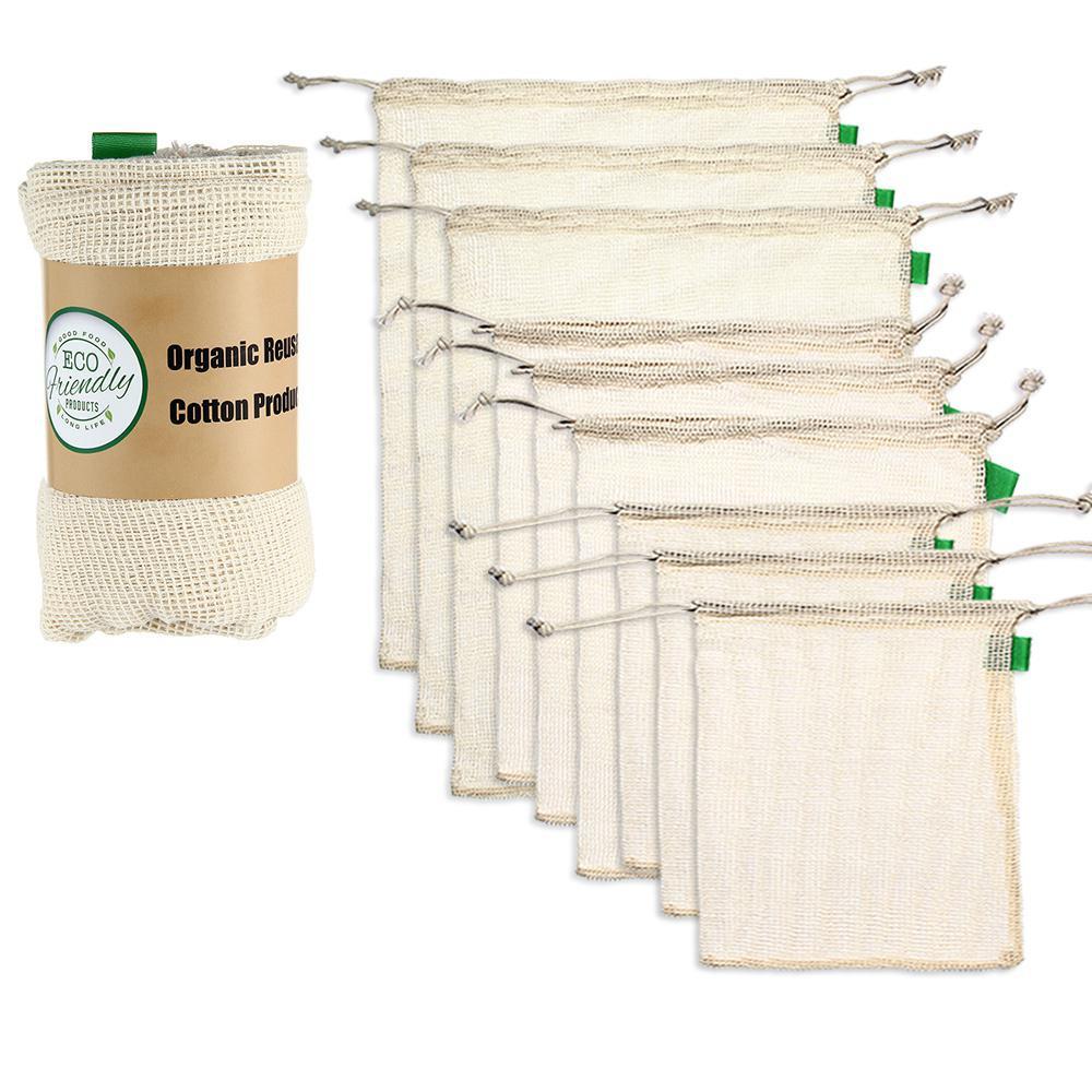 9pcs Definir Prémio Produzir Sacos De Malha De Algodão Orgânico Saco de Cordão de Armazenamento Reutilizáveis Lavável para Fazer Compras de Supermercado de Frutas Vegetais