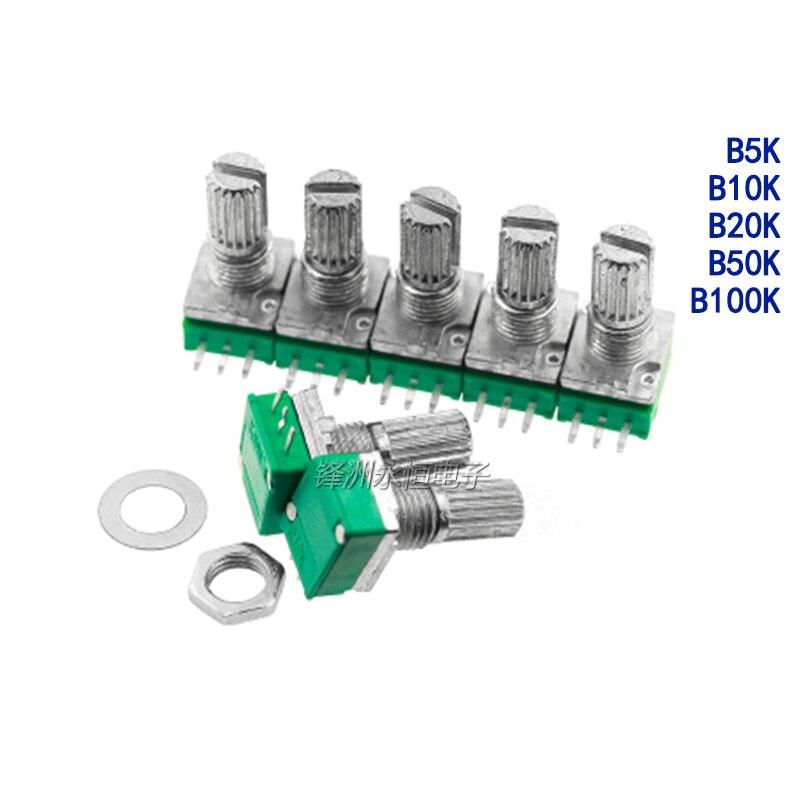 5 pces rk097n único potenciômetro b 5k/10k/20k/50k/100k 3pin áudio/amplificador