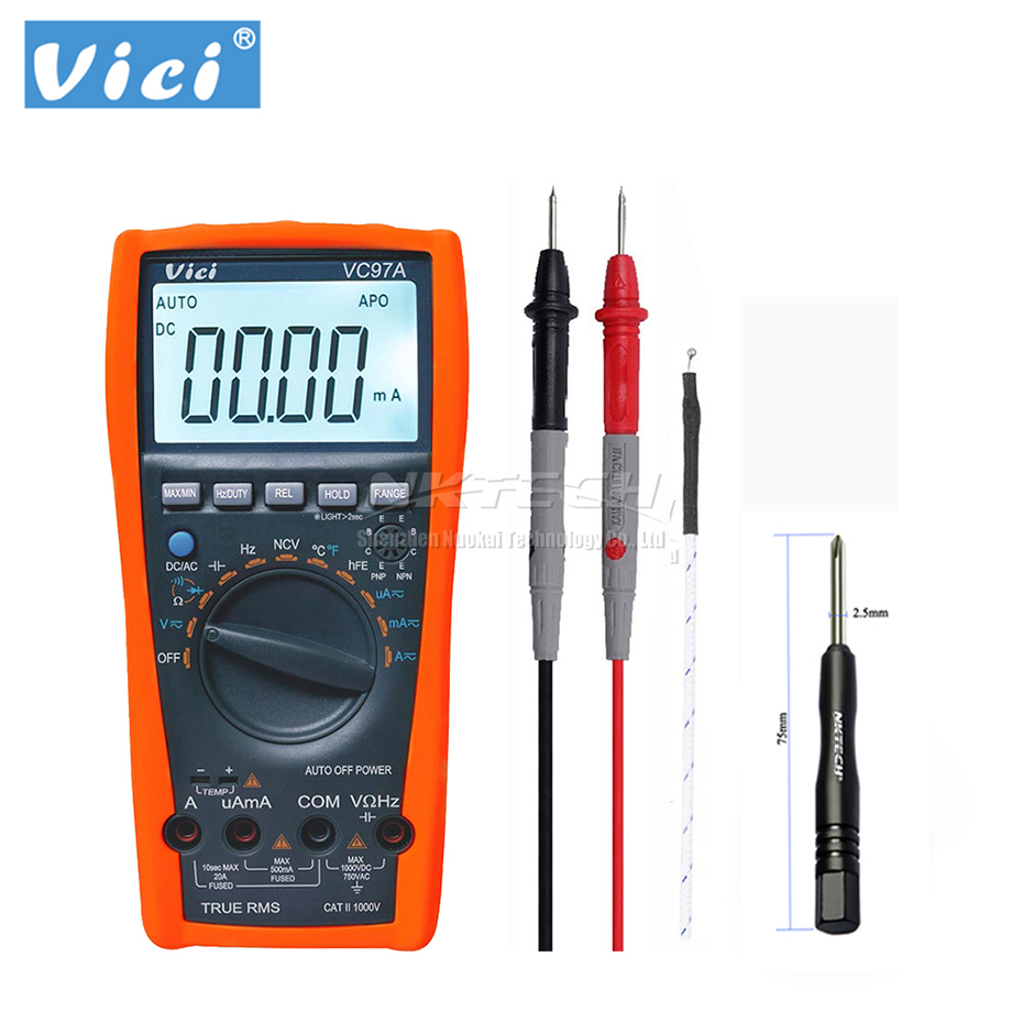 VICI Digital Multimeter VC97A 3 3/4 Voltmeter Ammeter Temperature AC DC Volt Amp OHM Capacitance Frequency Tester True RMS NCV|multimeter manual|multimeter capacitance|multimeter victor - title=