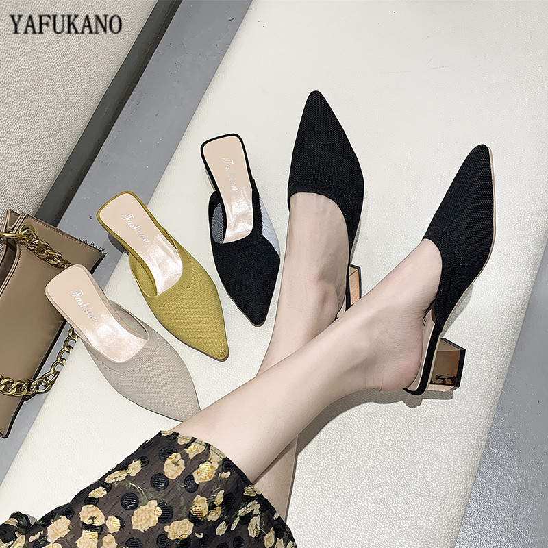 Summer 2020 New Elegant Women Yellow Black Knitted Slides Mules Mesh Breathable Flat Slippers Closed Toe Slides Party Shoes