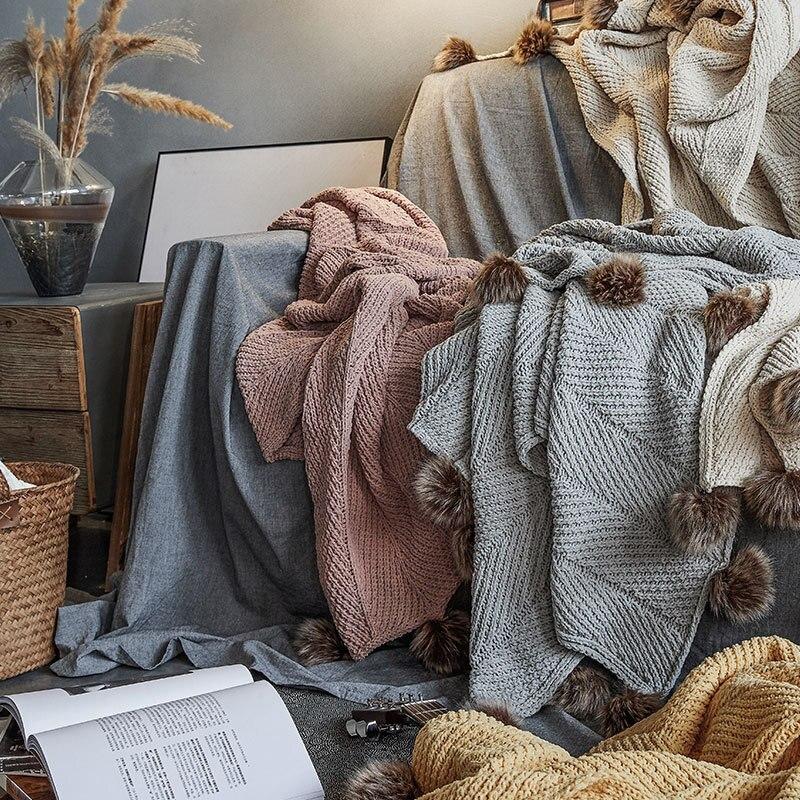 Регина бренд крупной вязки синель одеяла милые помпоны осень