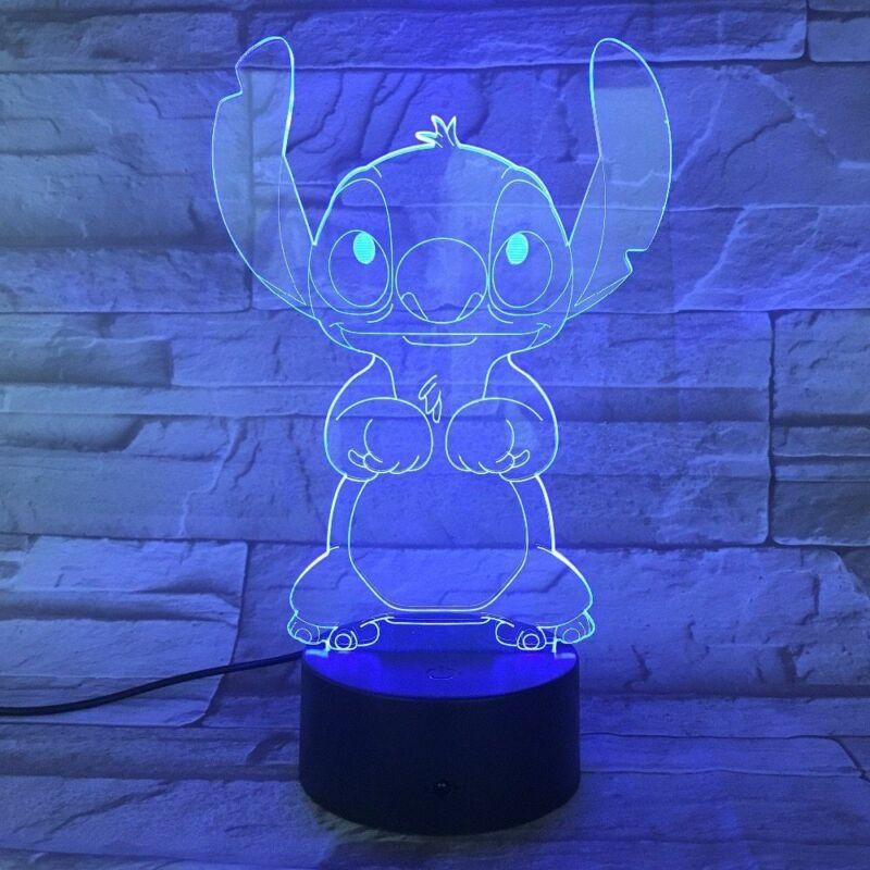 Мультфильм Тедди стежка ночник светодиодный 3D иллюзия декоративная лампа детский ночник Стич настольная лампа стежка собака прикроватная