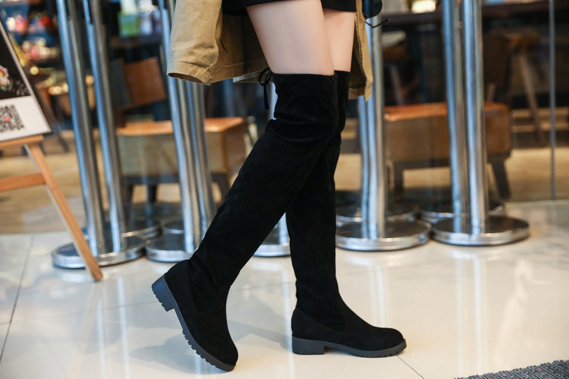 Eshion Girls Knee High Cotton Socks with Non-Skid Bottom