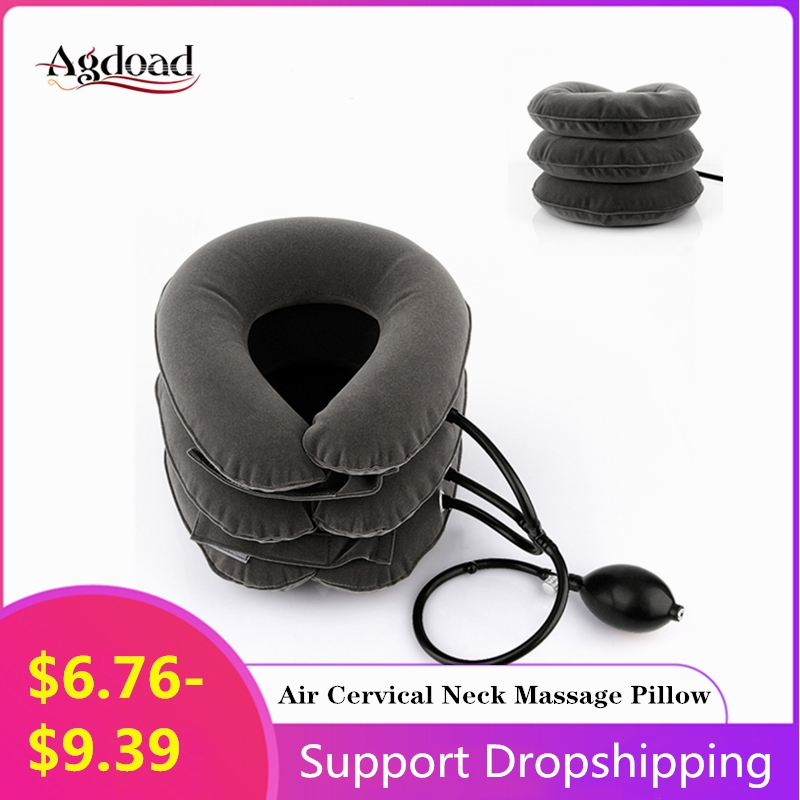 3 Layer Air Cervical Inflatable Collar Neck Massager Traction Vertebra Therapy Soft Brace Pain Relief Pillow Health Care Massage