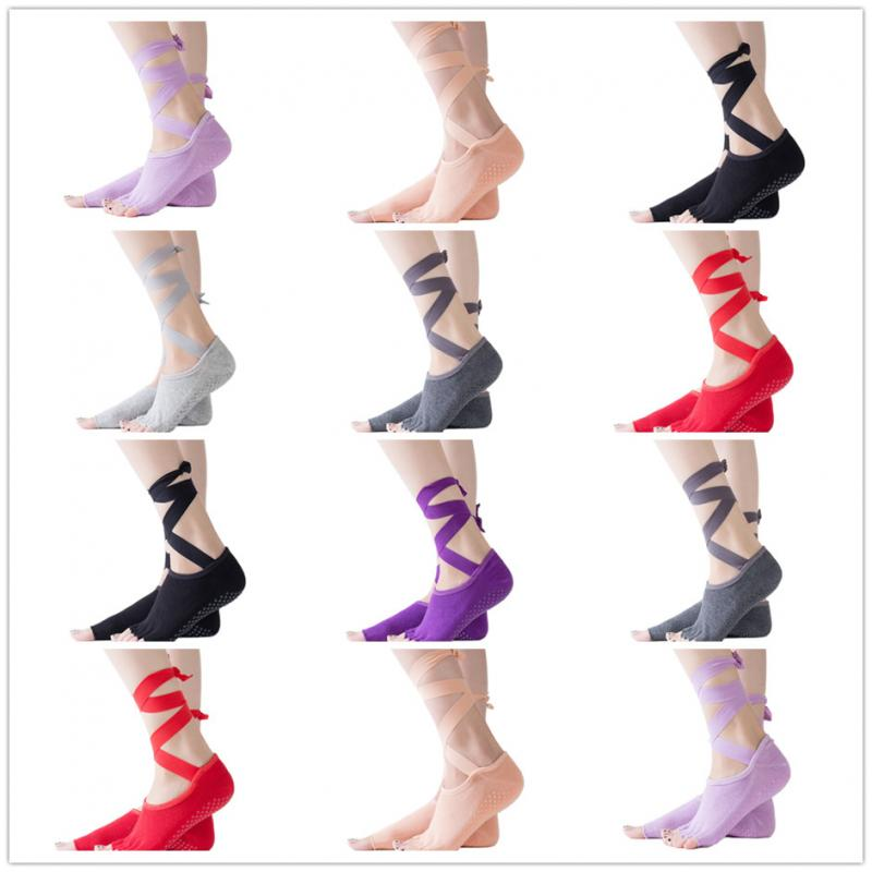 Women Yoga Backless Five Toe Anti-Slip Ankle Grip Socks Dots Pilates Fitness Gym Socks Ladies Sports Strap Cotton Socks Colors