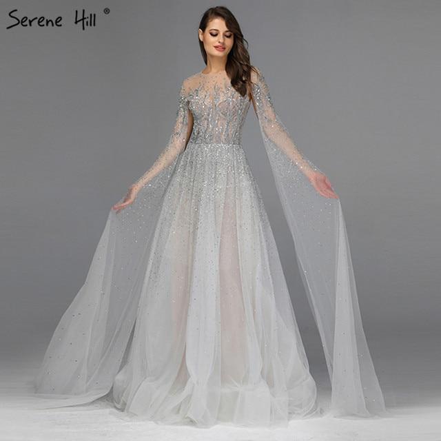 כסף אפור יוקרה ארוך שרוולי שמלות נשף 2019 האחרון עיצוב O צוואר אונליין סקסי לנשף שמלות Serene היל DLA60869