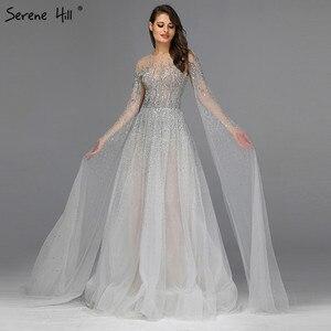 Image 1 - Prata cinza luxo mangas compridas vestidos de baile 2019 mais recente design o pescoço a linha sexy vestidos de baile sereno hill dla60869