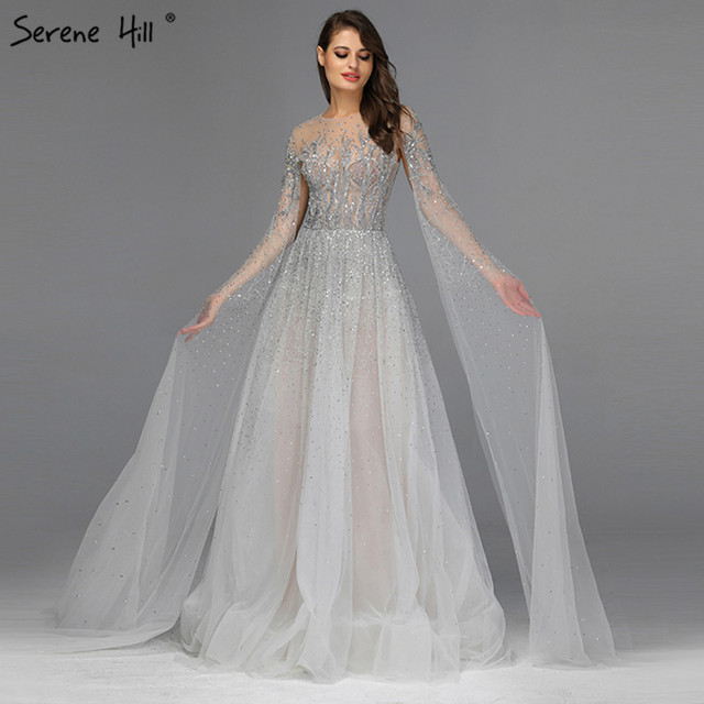 Prata cinza luxo mangas compridas vestidos de baile 2019 mais recente design o pescoço a linha sexy vestidos de baile sereno hill dla60869