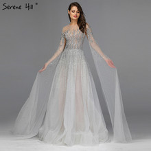 Silver Grey Luxury Long Sleeves Prom Dresses 2019 Latest Design O Neck A Line Sexy Prom Gowns Serene Hill DLA60869