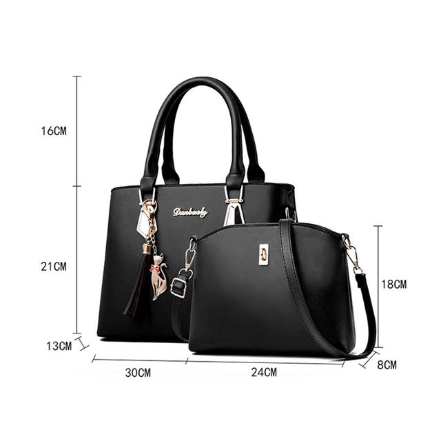 Women Bag Large Capacity Female Tassel Handbag Luxury Handbags plaid Women Bags Designer 2019 Set 2 Pieces Bags