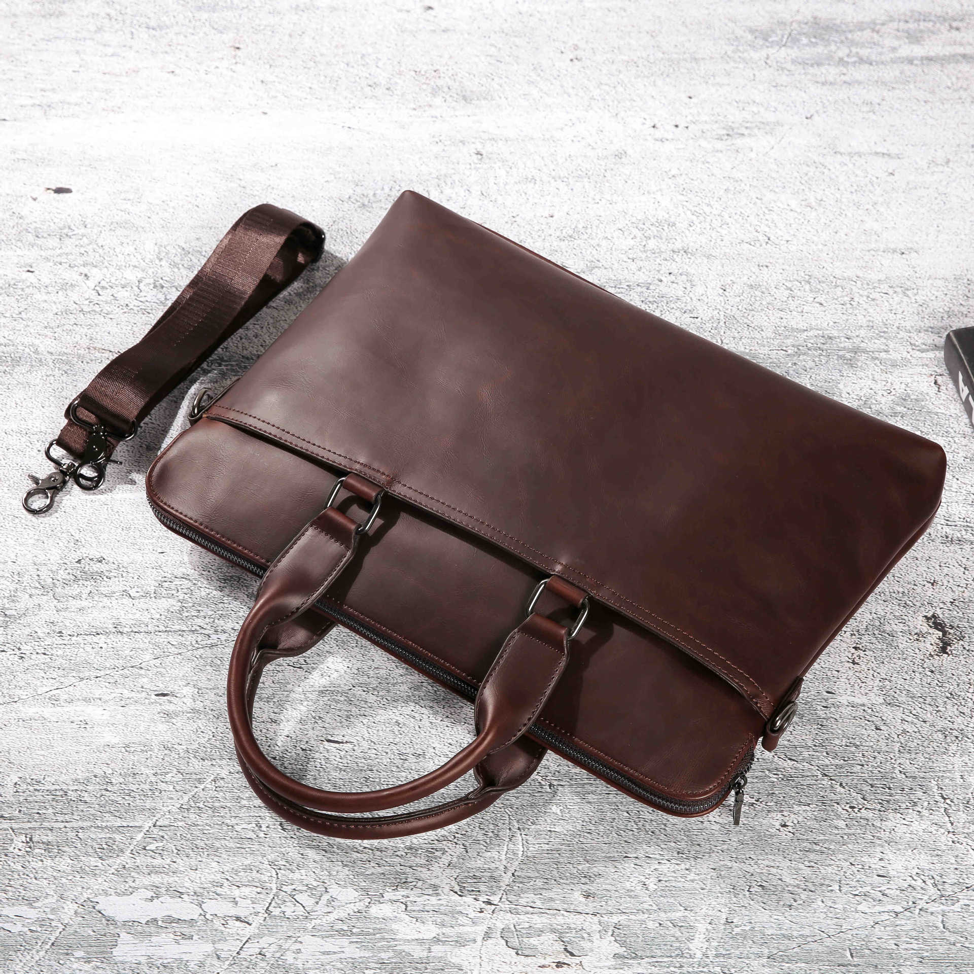 2019 Men's Promotion Simple Famous Brand Business Men Briefcase Bag Luxury Leather Laptop Bag Man Shoulder Bag bolsa maleta