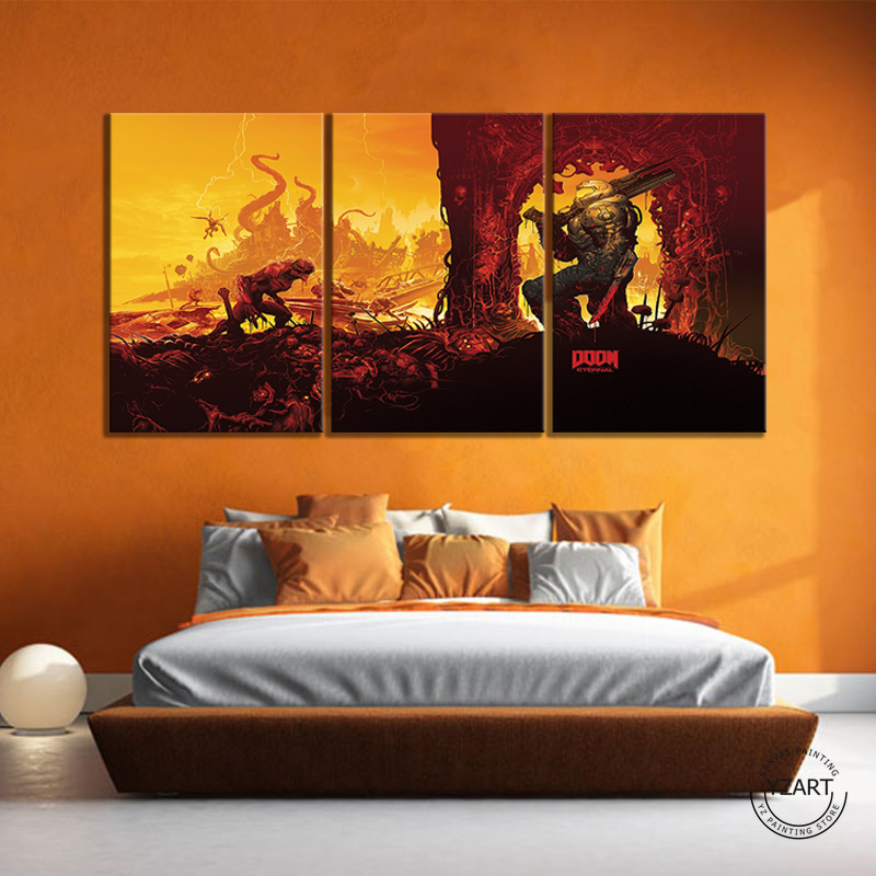 DOOM Eternal Picture Oil Painting Wall Art DOOM Game Poster HD Wall Picture for Living Room Decor 3
