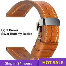 MAIKES Watch Bands 20mm 22mm 24mm Vintage Genuine Leahter Watch Strap With Butterfly Buckle Clasp For Panerai Mido Tissot Seiko