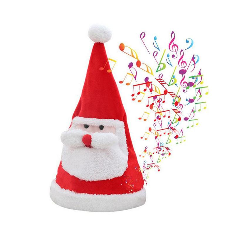 Electric Christmas Hat Creative Swing Sing Shining Plush Xmas Hat Toy Christmas Theme Party Dress Up Accessories Kids Xmas Gfit