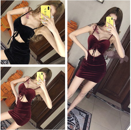 Nightclub WOMEN'S Dress Spring And Autumn New Style Wrap-around Camisole Drawstring Sexy Low Cut V Hollow Out Cutout-Waist Sheat