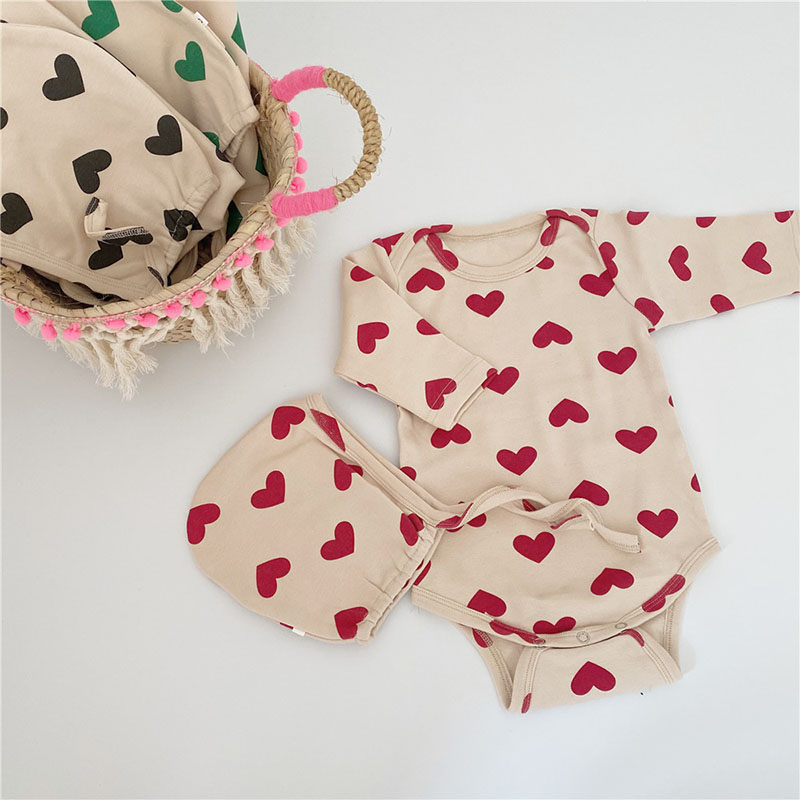 MILANCEL  Korean Baby Bodysuits Heart Print Baby Bodysuits With Hat Cute Toddler Boy Clothes Baby Jumpsuits