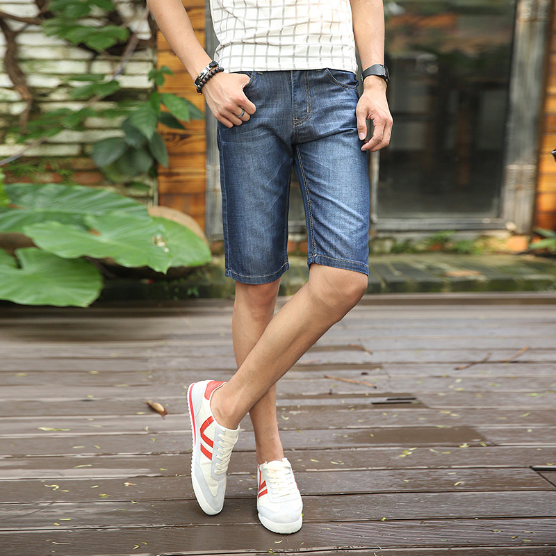 Denim Shorts Men's Wear Summer Thin Section Shorts Straight Slim Shorts Business Casual Men's Jeans