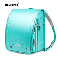 Coulomb Children Japanese School Bag For Girls Kid Orthopedic Backpack For Students Japan PU Randoseru Bookbag Baby Bag 2020 New