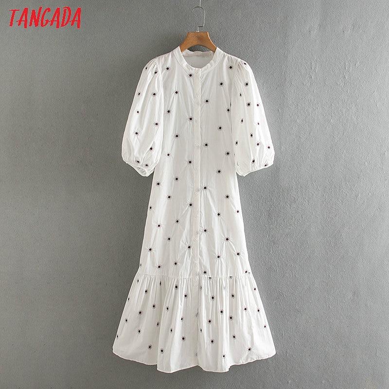Tangada Fashion Women Floral Print White Dress Puff Short Sleeve Ladies Casual Summer Midi Dress Vestidos 2W130