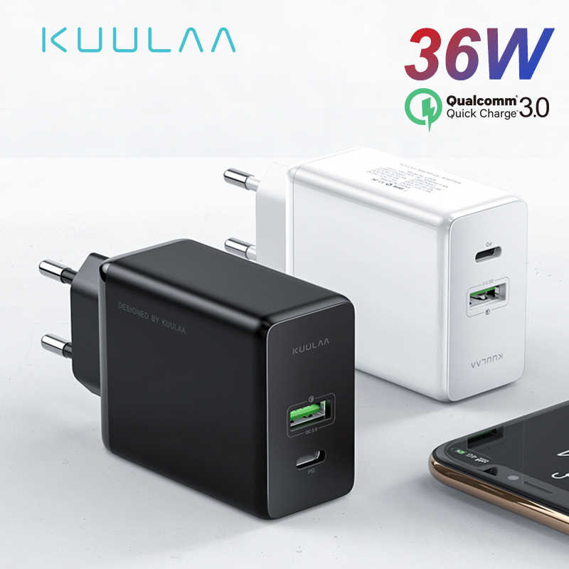 KUULAA Quick Charge 4.0 3.0 36W USB Charger PD 3.0 Fast Charger US EU Plug Adapter Supercharger For iPhone X XR XS 8 Xiaomi Mi 9