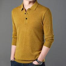 Для мужчин с длинным рукавом рубашки поло Демисезонный брендовый шерстяной одноцветное Поло рубашка тонкие и мягкие удобные