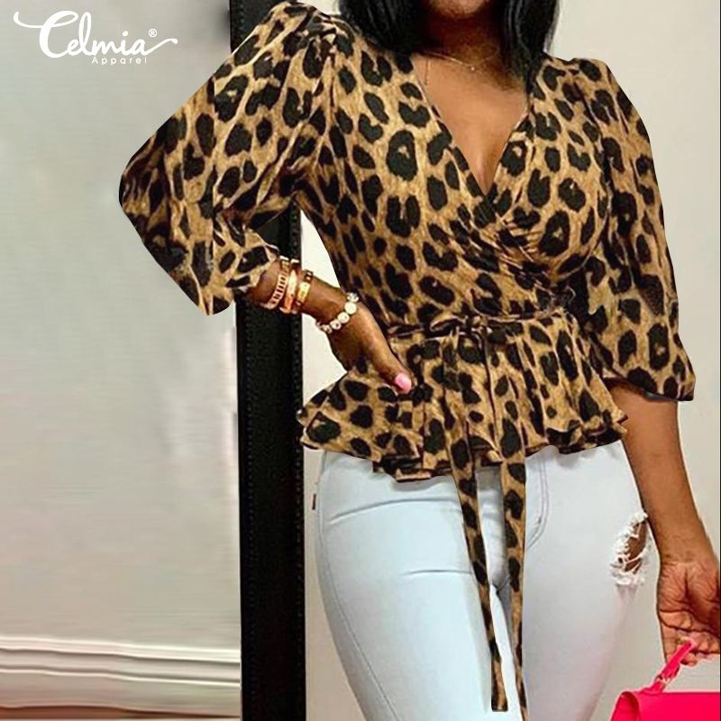 Stylish Tops Celmia 2020 Women Sexy Deep V-Neck Leopard Print Blouse Elegant Office Belted Tunic Shirt Ruffles Blusas Feminina 7