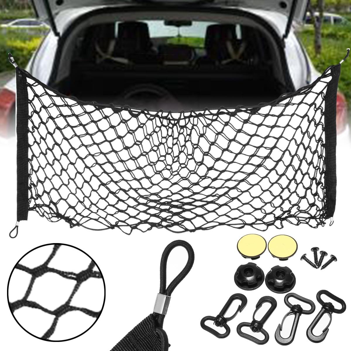 90cm*40cm Car Trunk Nets Elastic Strong Nylon Cargo Luggage Storage Organizer Net Mesh with Hooks For Car Van Pickup SUV MPV