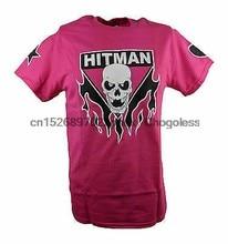 Camiseta de homem cor-de-rosa de bret hitman hart