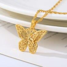 Ажурное ожерелье бабочка цепочка для женщин золотой серебряный