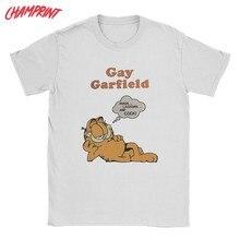 Camiseta masculina gay garfield fun 100% algodão t camisa de manga curta gato t camisas gola redonda roupas originais
