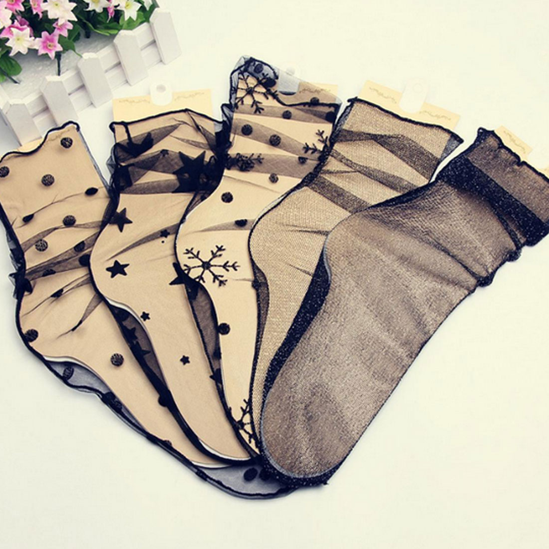 Women's Harajuku Breathable Transparent Mesh Small Polka Dots Socks Lady Net Yarn Fishnet Dots Socks Female Hosiery Soxs