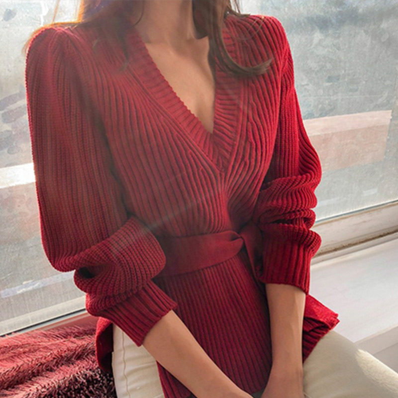 Women's Sweaters Lace Up 2019 Autumn V-Neck Long Sleeve Fashion Korean Style Winter Sexy Female Sweater Casual Solid Lady Tops