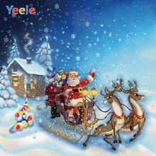 Yeele Christmas Photocall Santa Claus Sled Snow Elk Photography Backdrops Personalized Photographic Backgrounds For Photo Studio