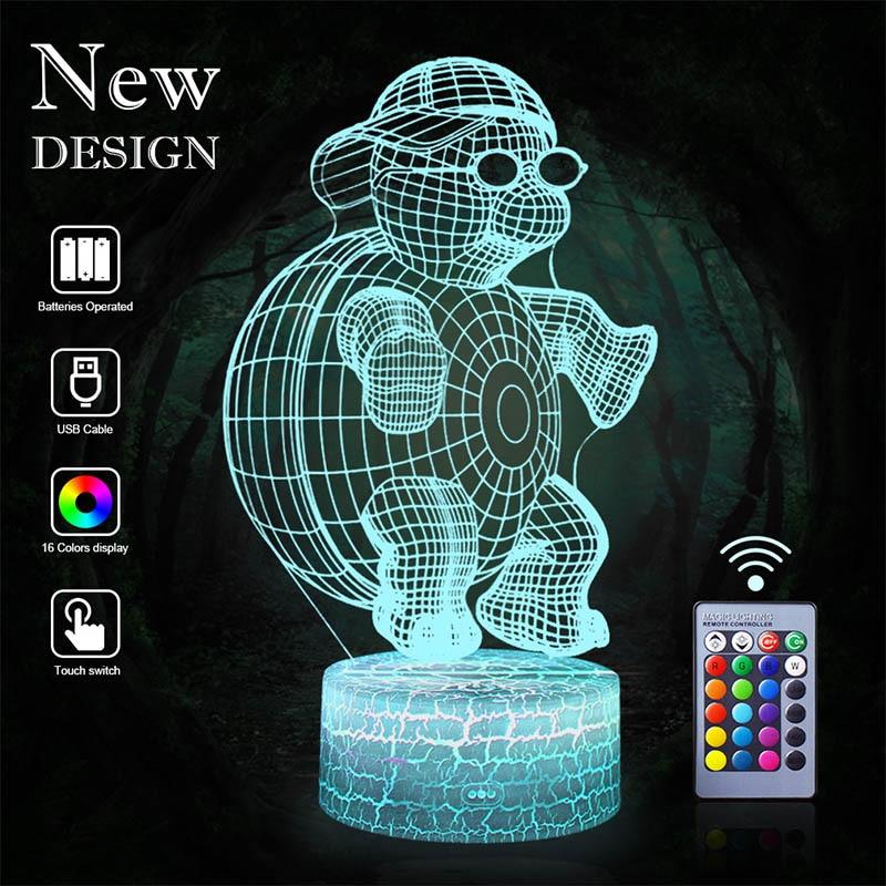 Tortoise 3D LED NightLight Jellyfish Table Lamp Lantern Cartoon 16 Color Illusion Luminaria Lava Lampe Decor Baby Kids Xmas Gift
