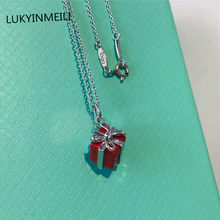 Sterling silver 925 classic popular gorgeous original fashion red gift box charm ladies necklace jewelry holiday gift(China)
