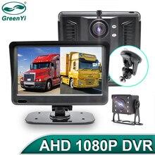 Greenyi ahd 1080p 7 polegada caminhão dvr monitor gravador de condução lente dupla frente/traseira dupla gravação hd visão noturna invertendo câmera