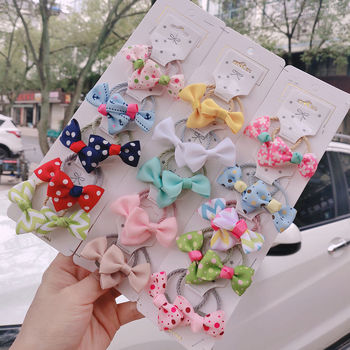1 set New Cute Ribbon Flowers Scrunchies Children Girls Kids Elastic Hair Rubber Band Accessories Tie Ring Rope Holder - discount item  35% OFF Headwear