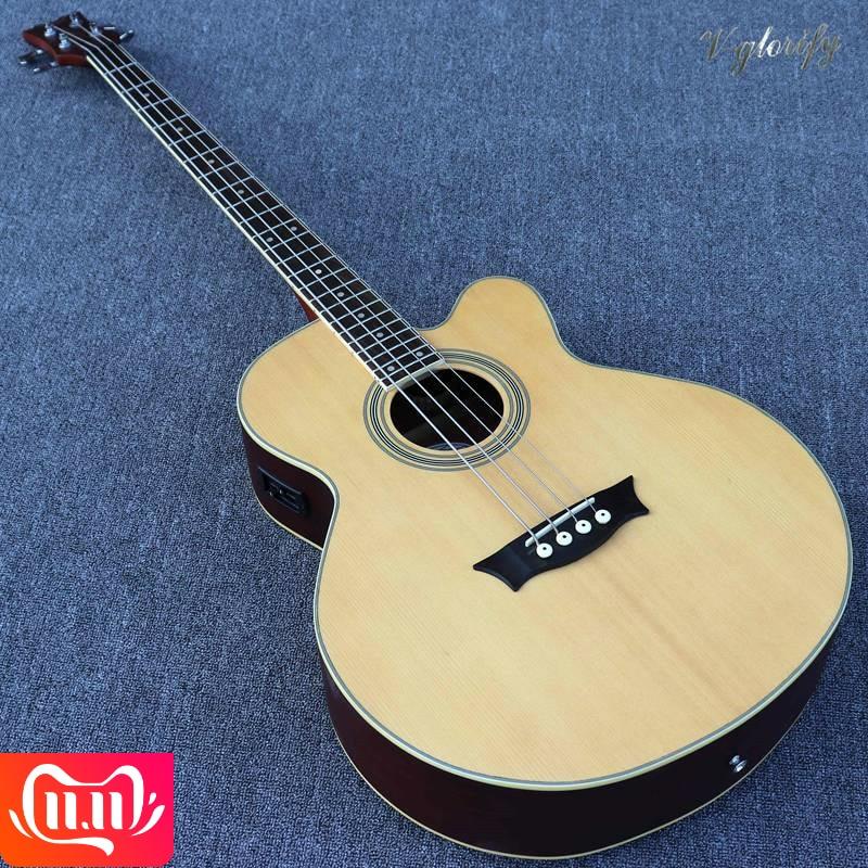 4 cordes 5 cordes couleur naturelle guitare basse acoustique électrique 43 pouces 24 frettes avec EQ bonne qualité